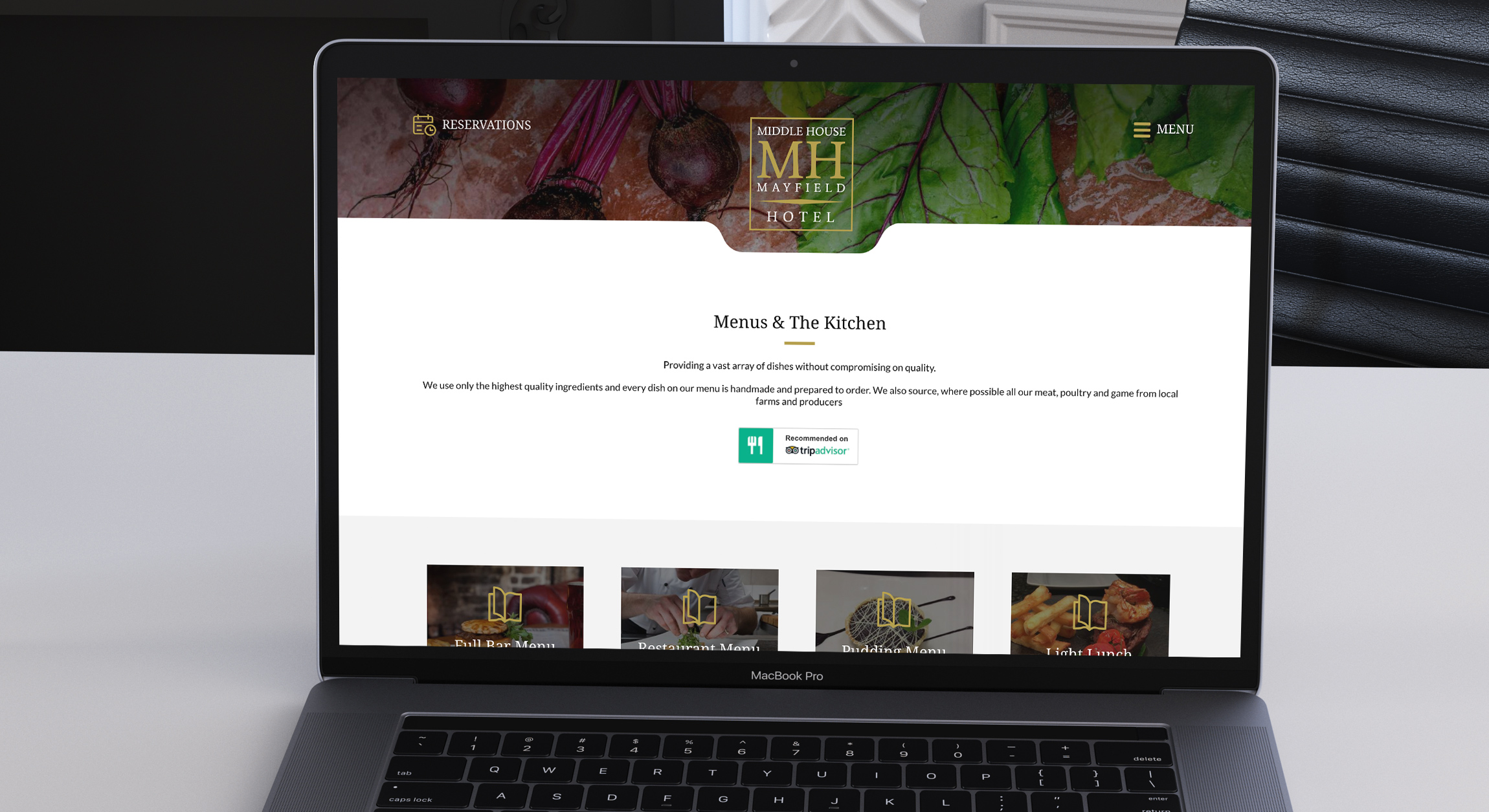 pub menu website design